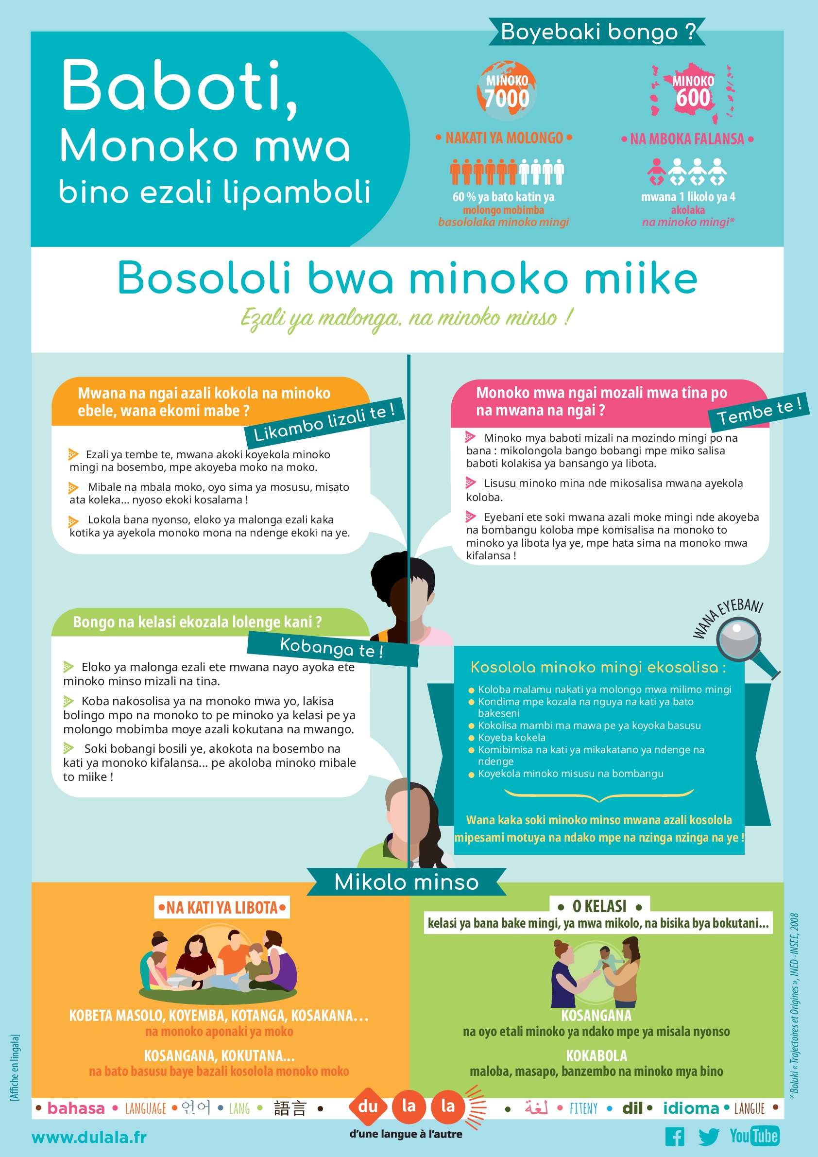 Affiche parents bilinguisme lingala
