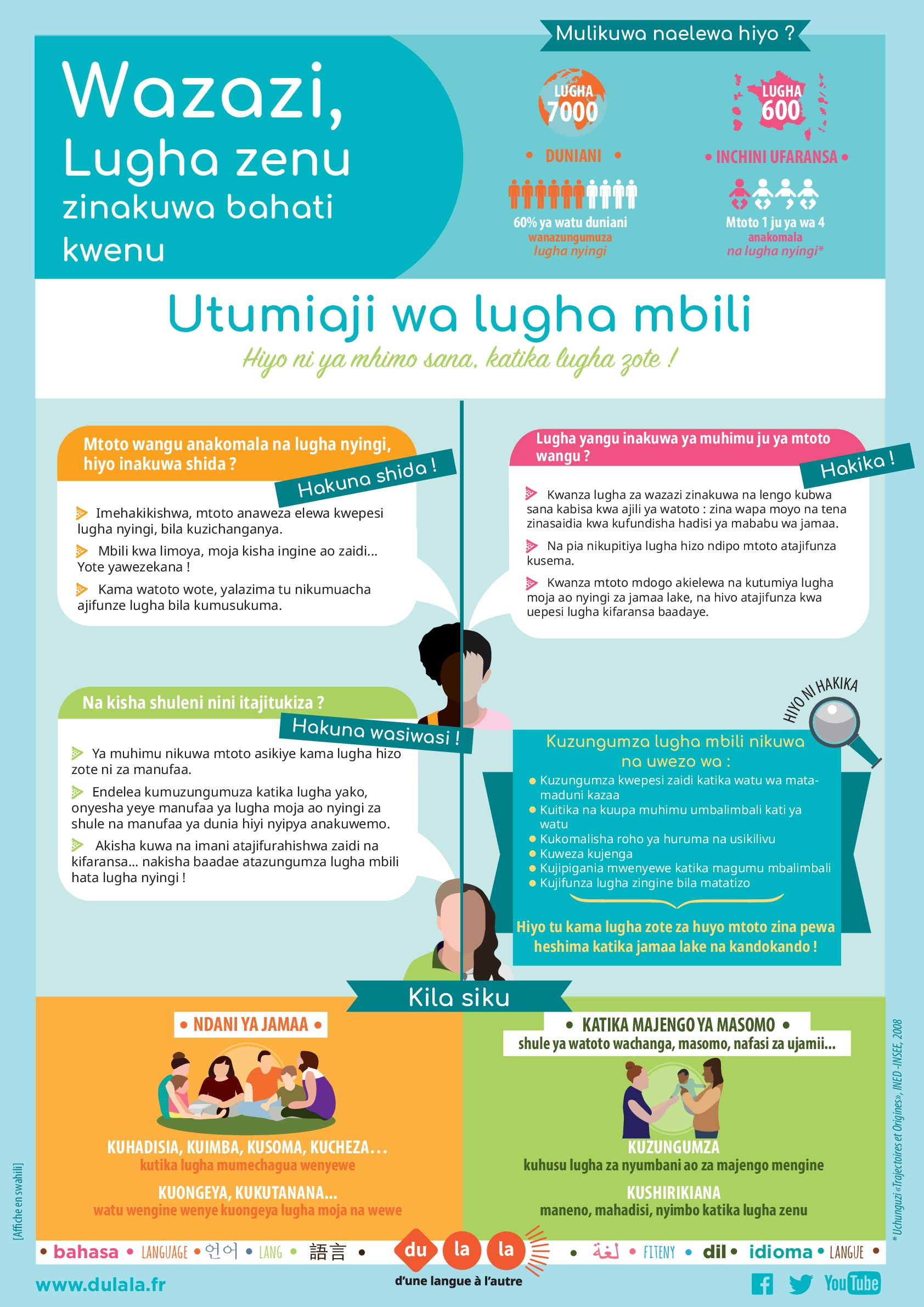 Affiche parents bilinguisme swahili
