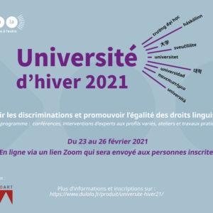 Université d'hiver 2021 – «Prévenir les discriminations et promouvoir l'égalité des droits linguistiques»